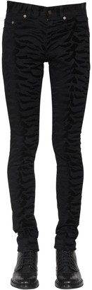 Saint Laurent 15cm Zebra Skinny Cotton Denim Jeans