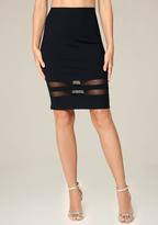 Bebe Mesh Inset Pencil Skirt