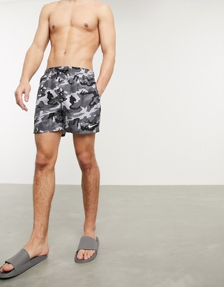 Nike Swimming 5 inch volley shorts in gray camo print
