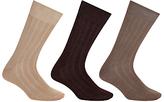 John Lewis Pure Mercerised Cotton Socks, Pack Of 3, Brown