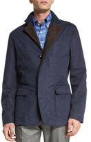 Kiton Cashmere-Blend Button-Down Jacket, Blue