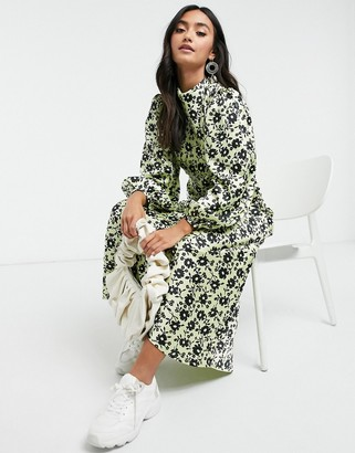 ASOS DESIGN cowl neck satin tea maxi dress with puff sleeve in green floral print