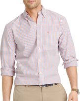 Izod Long-Sleeve Essential Tattersal Woven Cotton Poplin Shirt