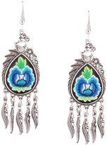 QIYUN.Z Retro Embroidery Peacock Shape Tassel Womens Ladies Earring Pendant Ear Studs