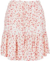 Thumbnail for your product : Ganni Floral-print Ruched Georgette Mini Skirt