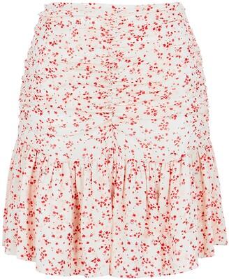 Ganni Floral-print Ruched Georgette Mini Skirt