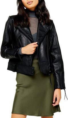 Topshop Sky Leather Biker Jacket