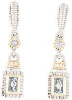 Judith Ripka Two-Tone Diamond & Blue Quartz Drop Earrings