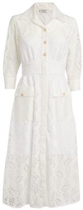 Sandro Paris Lace Midi Shirt Dress