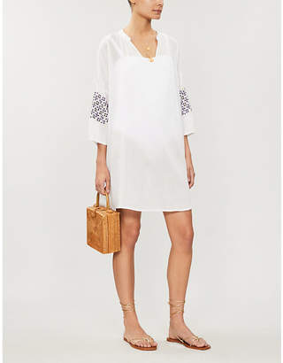 Seafolly Embroidered-detail cotton-gauze dress