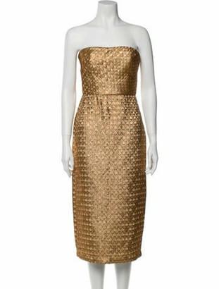Johanna Ortiz Strapless Knee-Length Dress Gold