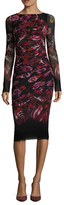 Fuzzi Printed Ruched Sheath Dress