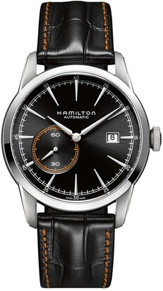 Hamilton Men's Railroad Swiss Automatic Embossed Leather Strap Watch, 42mm