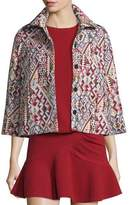 BA&SH Blush Geometric-Pattern 3/4-Sleeve Jacket