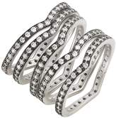 Freida Rothman Rhodium Plated Sterling Silver Contemporary Deco Stacking Rings - Set of 5 - Size 5