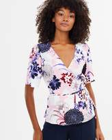 Warehouse Dahlia Wrap Top