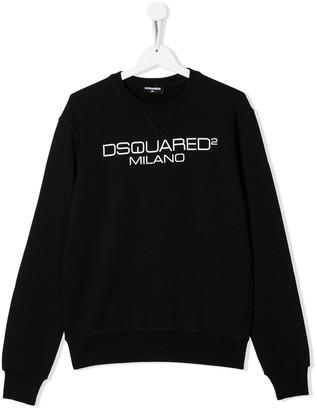 DSQUARED2 TEEN logo-print cotton sweatshirt