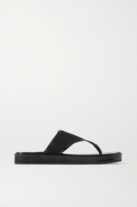 BY FAR Otto Glossed-leather And Linen Flip Flops - Black