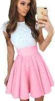 ECOWISH ECOWIH Women Lace A-line Sleeveless Pleated Cocktail Party Skater Skirt Dress