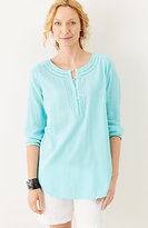 J. Jill Crinkled-Cotton 3/4-Sleeve Top