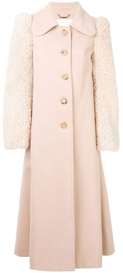 Chloé shearling sleeved coat