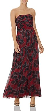 Halston Pleated Floral Print Gown