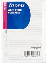 Filofax White Ruled Paper, Pocket
