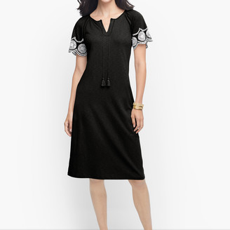 Talbots Embroidered Sleeve Knit Shift Dress