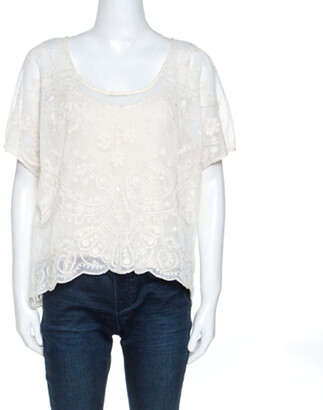 Ralph Lauren Off White Embroidered Knit Top M