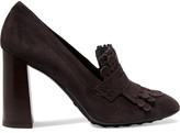 Tod's Fringed Suede Pumps - Dark brown