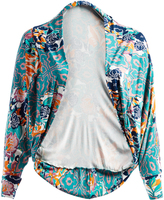 Glam Teal Abstract Cocoon Open Cardigan - Plus
