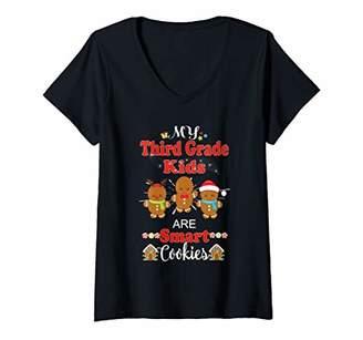 Womens Third Grade Christmas Teacher My Kids Are Smart Cookies V-Neck T-Shirt