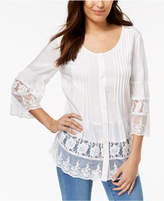 Style&Co. Style & Co Tiered-Lace Shirt, Created for Macy's