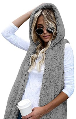 Kalorywee Coats KaloryWee Womens Faux Fur Gilet Hooded Warm Teddy Bear Vest Waistcoat Sleeveless Sherpa Jacket Gilet Coat Cardigan Gray