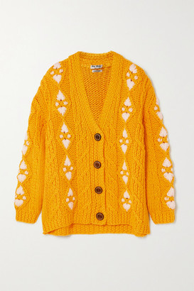Miu Miu Embroidered Cable-knit Wool Cardigan - Yellow