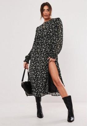 Missguided Black Floral Print Balloon Sleeve Midi Dress