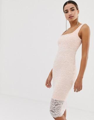 Vesper lace square neck bodycon dress with scallop hem in blush