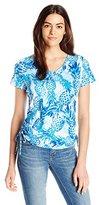 Caribbean Joe Women's Pinapple Short Sleeve V Neck Side Ruched Tee Shirt
