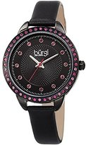 Burgi Women's Genuine Swarovski Crystal Accented Black Dial and Bezel with Black Genuine Leather Strap Watch BUR161BK