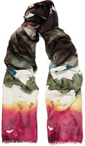 Acne Studios Vapa Frayed Printed Silk Scarf - Green