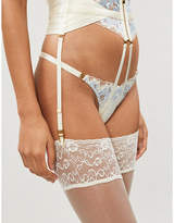 Bordelle Wilde floral-embroidered stretch-lace and mesh thong