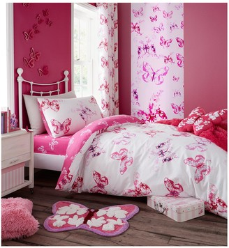 Catherine Lansfield Butterfly Lined Curtains