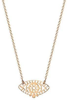 ginette_ny Ajna 18K Rose Gold Mini Eye Pendant Necklace