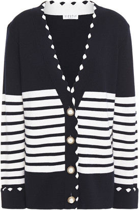 Claudie Pierlot Scalloped Striped Wool Cardigan