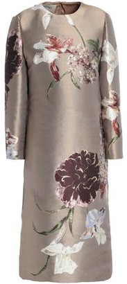 Valentino Metallic Silk-blend Floral-jacquard Dress