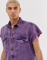 Asos Design DESIGN oversized sleeveless denim shirt in 90's style pink acid wash