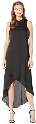 BCBGMAXAZRIA Asymmetrical Hem Sleeveless Dress (Black) Women's Clothing