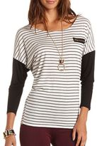 Charlotte Russe Zip Pocket Striped Tunic
