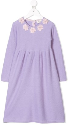 Cashmirino Cashmere floral appliqued dress