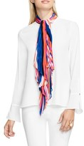 Vince Camuto Abstract Strokes Pleat Tie Neck Blouse